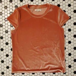 peach velvet crew neck madewell shirt